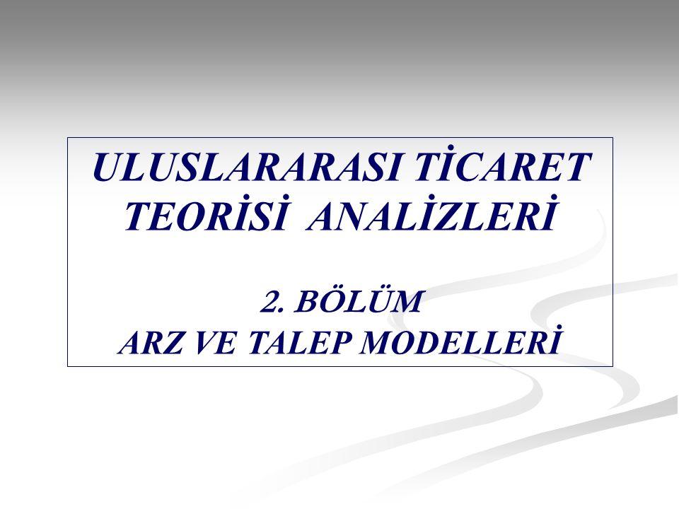 ULUSLARARASI TİCARET TEORİSİ ANALİZLERİ 2. BÖLÜM ARZ VE TALEP MODELLERİ