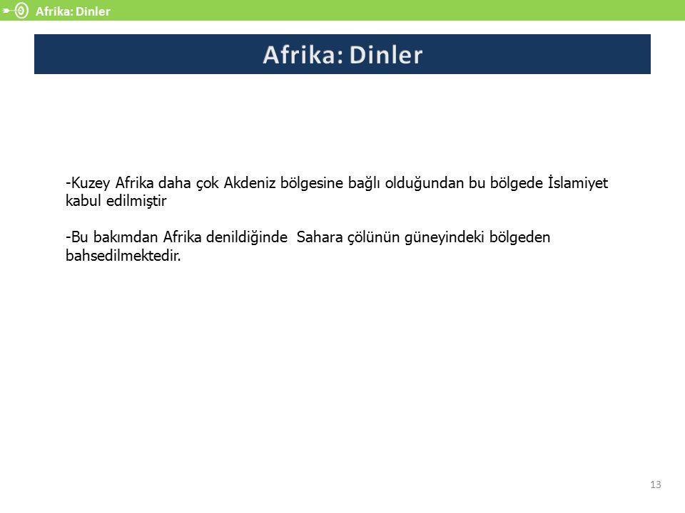 Afrika: Dinler 13 -Kuzey Afrika daha çok Akdeniz bölgesine bağlı olduğundan bu bölgede İslamiyet kabul edilmiştir -Bu bakımdan Afrika denildiğinde Sahara çölünün güneyindeki bölgeden bahsedilmektedir.