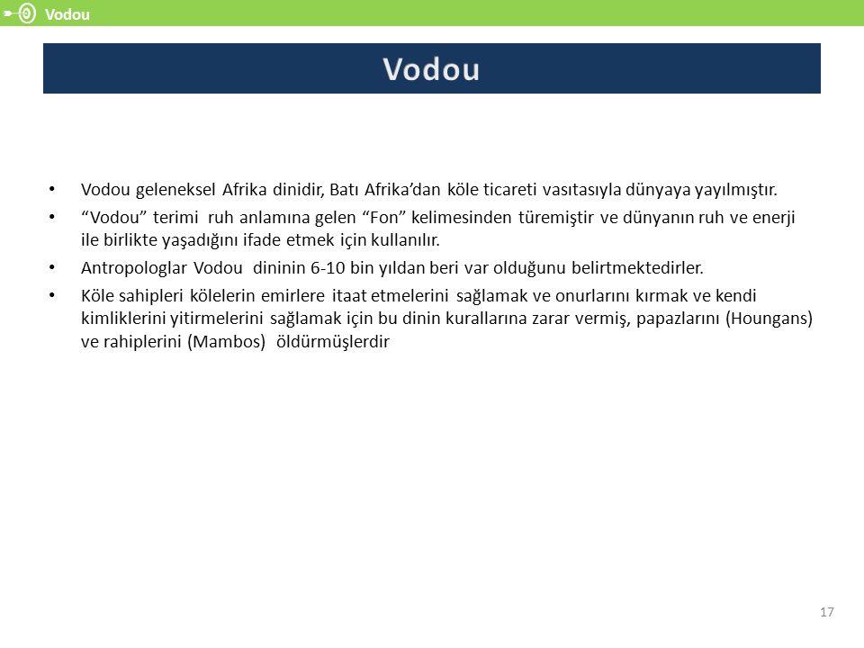 """Vodou 17 Vodou geleneksel Afrika dinidir, Batı Afrika'dan köle ticareti vasıtasıyla dünyaya yayılmıştır. """"Vodou"""" terimi ruh anlamına gelen """"Fon"""" kelim"""