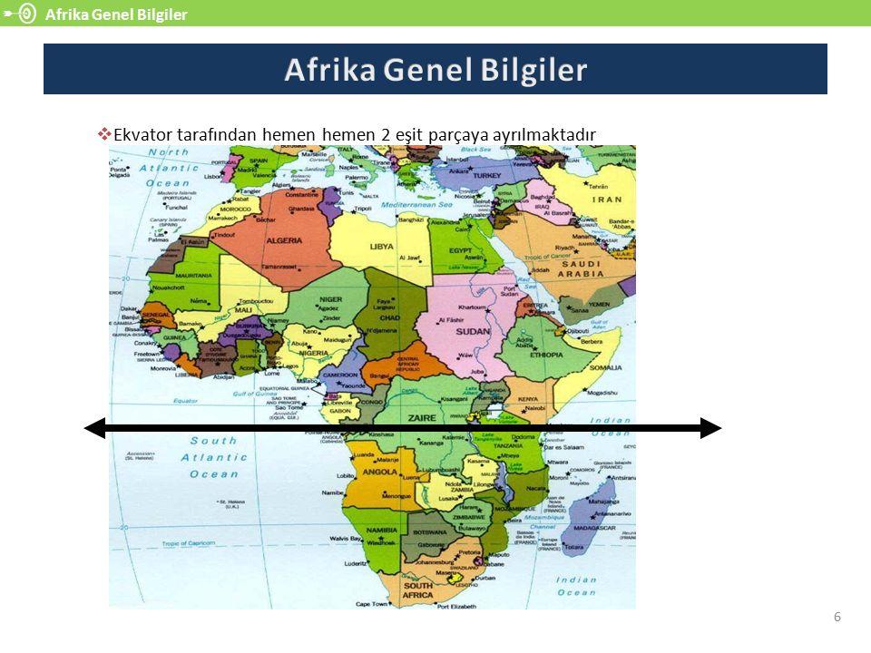 Afrika Genel Bilgiler 6  Ekvator tarafından hemen hemen 2 eşit parçaya ayrılmaktadır