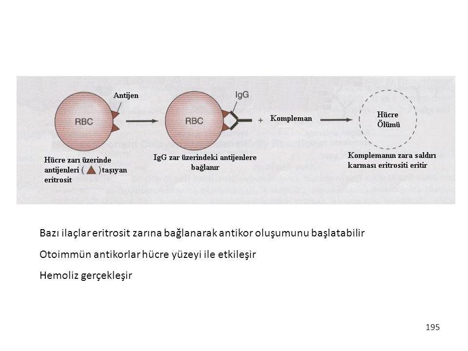 195 Bazı ilaçlar eritrosit zarına bağlanarak antikor oluşumunu başlatabilir Otoimmün antikorlar hücre yüzeyi ile etkileşir Hemoliz gerçekleşir