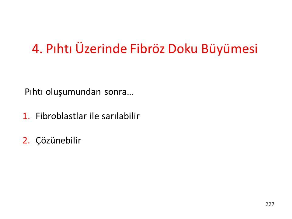 227 4. Pıhtı Üzerinde Fibröz Doku Büyümesi Pıhtı oluşumundan sonra… 1. Fibroblastlar ile sarılabilir 2. Çözünebilir
