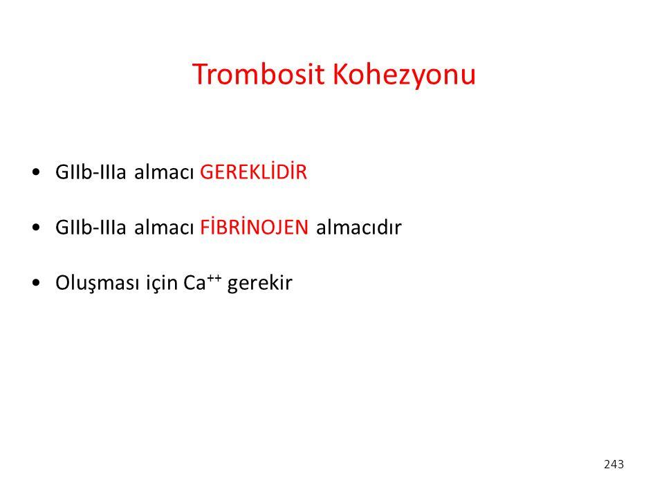 243 Trombosit Kohezyonu GIIb-IIIa almacı GEREKLİDİR GIIb-IIIa almacı FİBRİNOJEN almacıdır Oluşması için Ca ++ gerekir