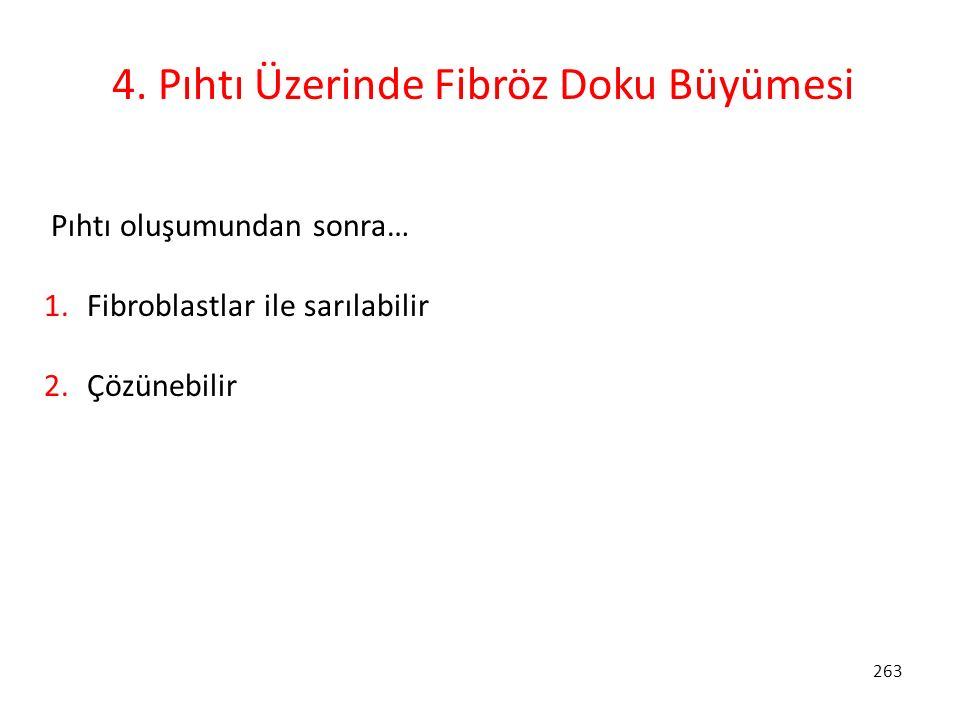 263 4. Pıhtı Üzerinde Fibröz Doku Büyümesi Pıhtı oluşumundan sonra… 1. Fibroblastlar ile sarılabilir 2. Çözünebilir