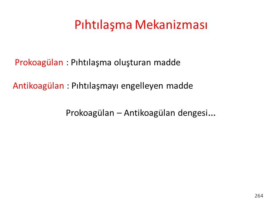264 Pıhtılaşma Mekanizması Prokoagülan : Pıhtılaşma oluşturan madde Antikoagülan : Pıhtılaşmayı engelleyen madde Prokoagülan – Antikoagülan dengesi …