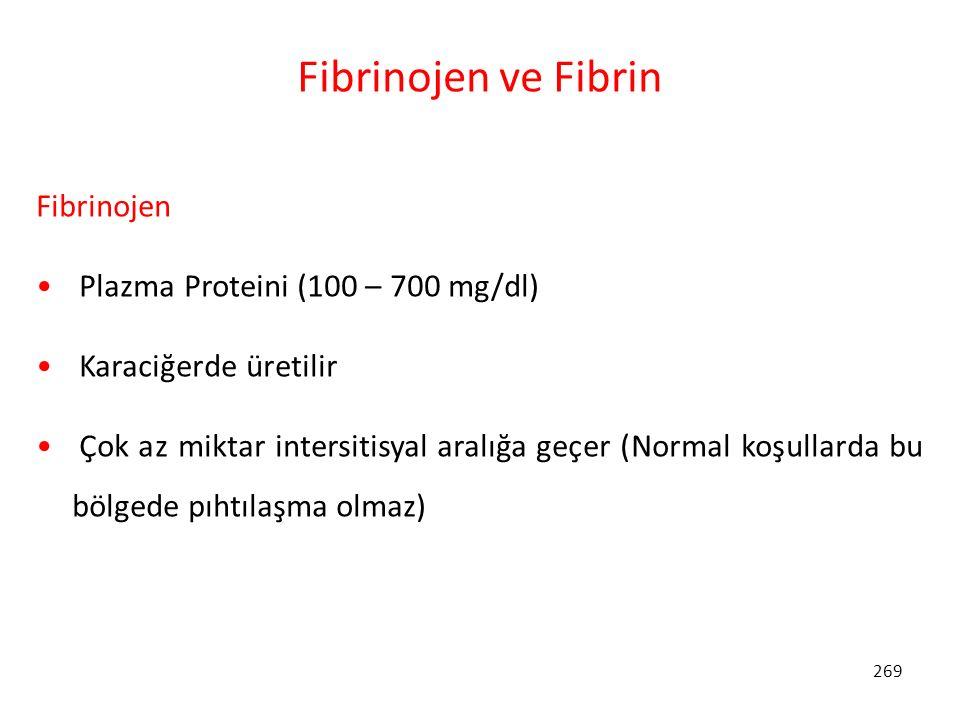 269 Fibrinojen ve Fibrin Fibrinojen Plazma Proteini (100 – 700 mg/dl) Karaciğerde üretilir Çok az miktar intersitisyal aralığa geçer (Normal koşullard