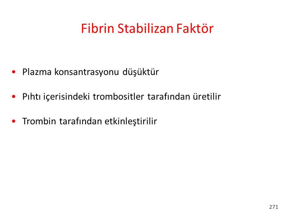 271 Fibrin Stabilizan Faktör Plazma konsantrasyonu düşüktür Pıhtı içerisindeki trombositler tarafından üretilir Trombin tarafından etkinleştirilir