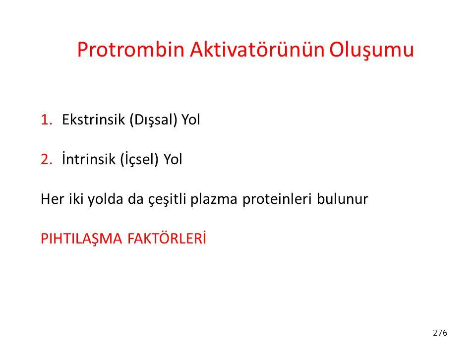 276 Protrombin Aktivatörünün Oluşumu 1. Ekstrinsik (Dışsal) Yol 2. İntrinsik (İçsel) Yol Her iki yolda da çeşitli plazma proteinleri bulunur PIHTILAŞM