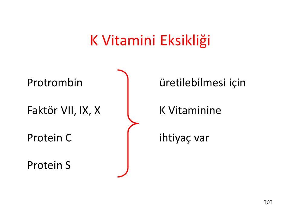 303 K Vitamini Eksikliği Protrombin üretilebilmesi için Faktör VII, IX, X K Vitaminine Protein C ihtiyaç var Protein S