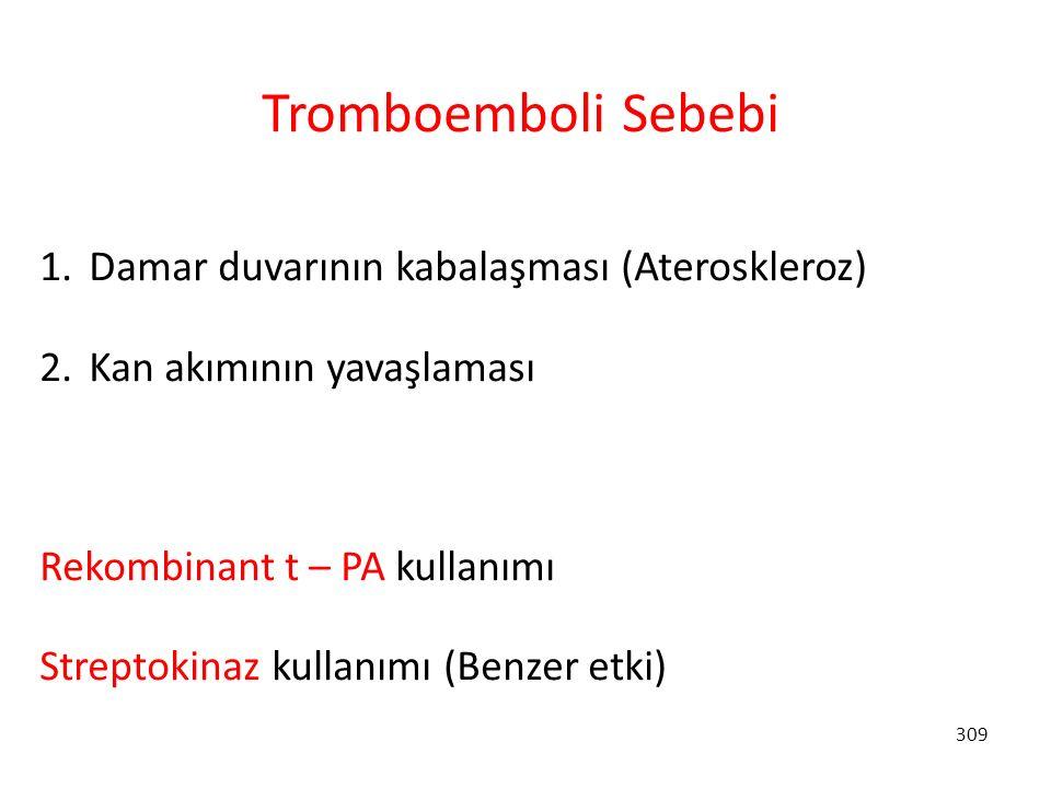 309 Tromboemboli Sebebi 1. Damar duvarının kabalaşması (Ateroskleroz) 2. Kan akımının yavaşlaması Rekombinant t – PA kullanımı Streptokinaz kullanımı