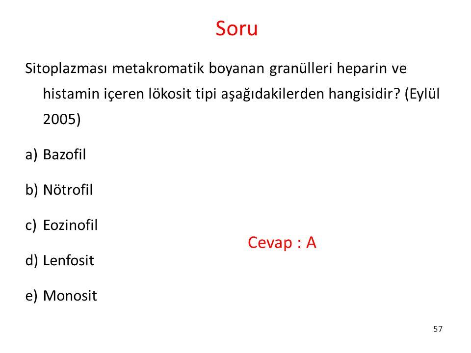 57 Soru Sitoplazması metakromatik boyanan granülleri heparin ve histamin içeren lökosit tipi aşağıdakilerden hangisidir? (Eylül 2005) a)Bazofil b)Nötr