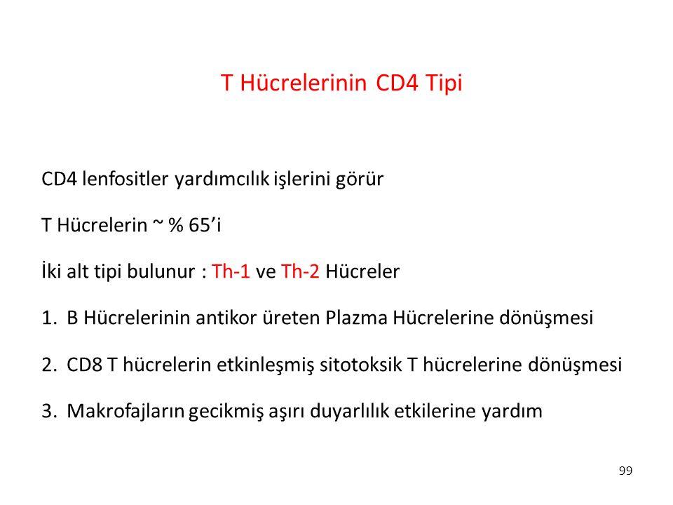 99 T Hücrelerinin CD4 Tipi CD4 lenfositler yardımcılık işlerini görür T Hücrelerin ~ % 65'i İki alt tipi bulunur : Th-1 ve Th-2 Hücreler 1.B Hücreleri