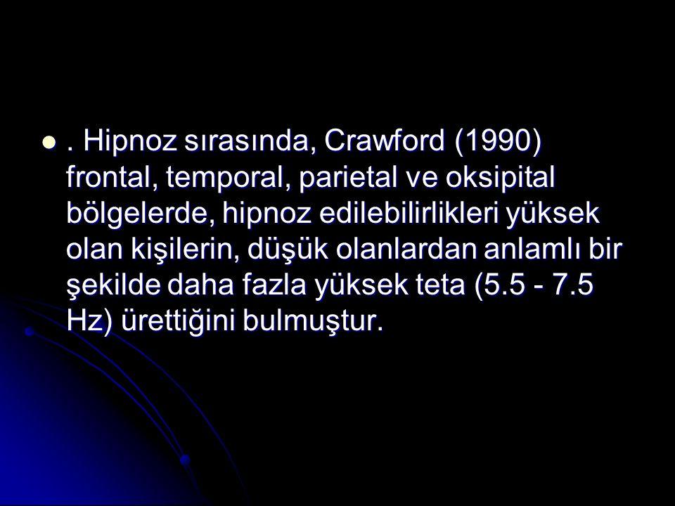 Hipnoz sırasında, Crawford (1990) frontal, temporal, parietal ve oksipital bölgelerde, hipnoz edilebilirlikleri yüksek olan kişilerin, düşük olanlardan anlamlı bir şekilde daha fazla yüksek teta (5.5 - 7.5 Hz) ürettiğini bulmuştur..