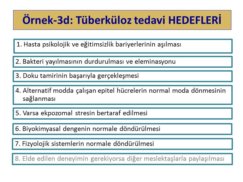 Örnek-3d: Tüberküloz tedavi HEDEFLERİ 1.Hasta psikolojik ve eğitimsizlik bariyerlerinin aşılması 2.Bakteri yayılmasının durdurulması ve eleminasyonu 4.Alternatif modda çalışan epitel hücrelerin normal moda dönmesinin sağlanması 5.Varsa ekpozomal stresin bertaraf edilmesi 6.Biyokimyasal dengenin normale döndürülmesi 7.Fizyolojik sistemlerin normale döndürülmesi 8.Elde edilen deneyimin gerekiyorsa diğer meslektaşlarla paylaşılması 3.Doku tamirinin başarıyla gerçekleşmesi