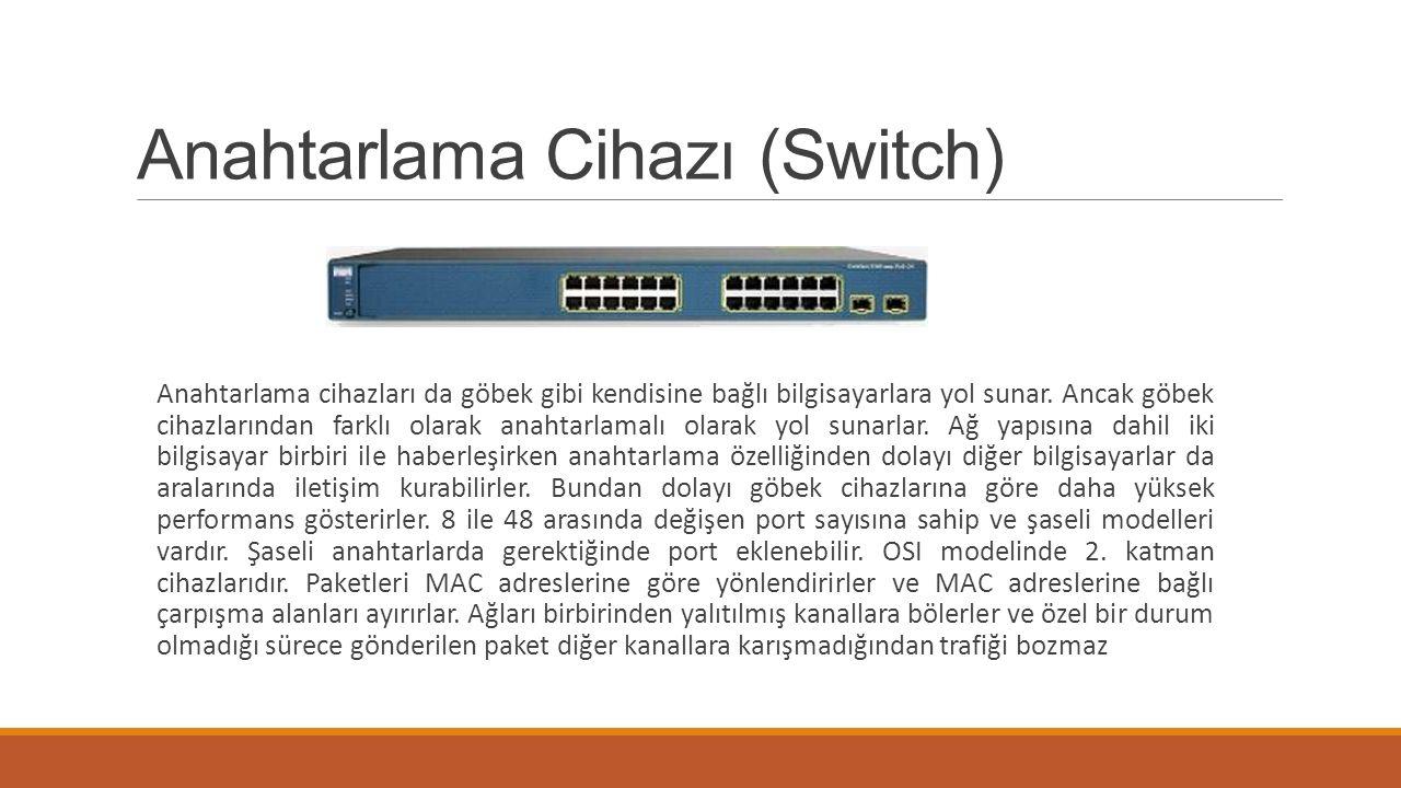 Anahtarlama Cihazı (Switch) Anahtarlama cihazları da göbek gibi kendisine bağlı bilgisayarlara yol sunar. Ancak göbek cihazlarından farklı olarak anah