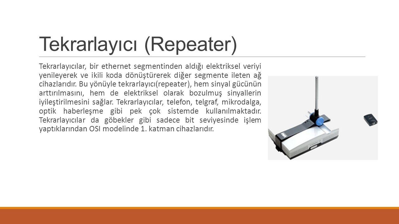 Tekrarlayıcı (Repeater) Tekrarlayıcılar, bir ethernet segmentinden aldığı elektriksel veriyi yenileyerek ve ikili koda dönüştürerek diğer segmente ile