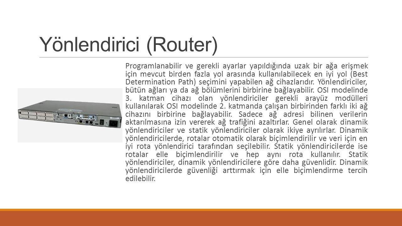 Yönlendirici (Router) Programlanabilir ve gerekli ayarlar yapıldığında uzak bir ağa erişmek için mevcut birden fazla yol arasında kullanılabilecek en