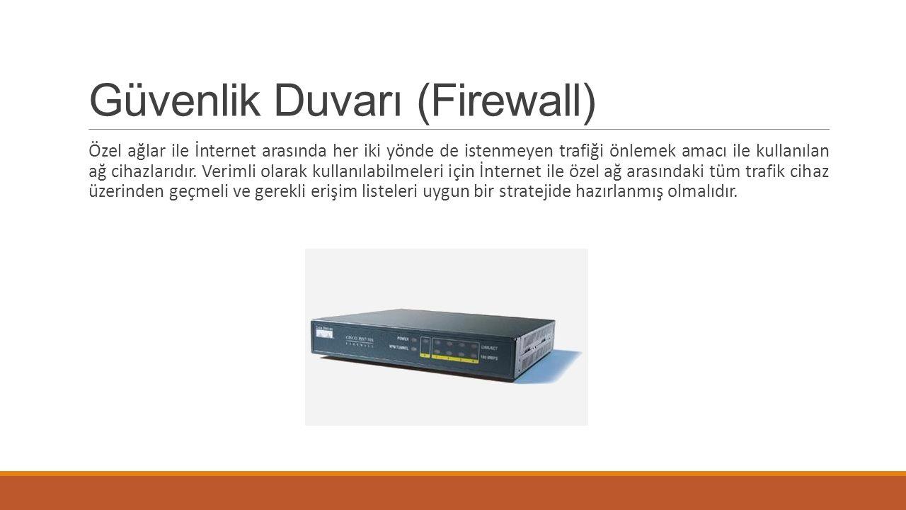 Güvenlik Duvarı (Firewall) Özel ağlar ile İnternet arasında her iki yönde de istenmeyen trafiği önlemek amacı ile kullanılan ağ cihazlarıdır. Verimli
