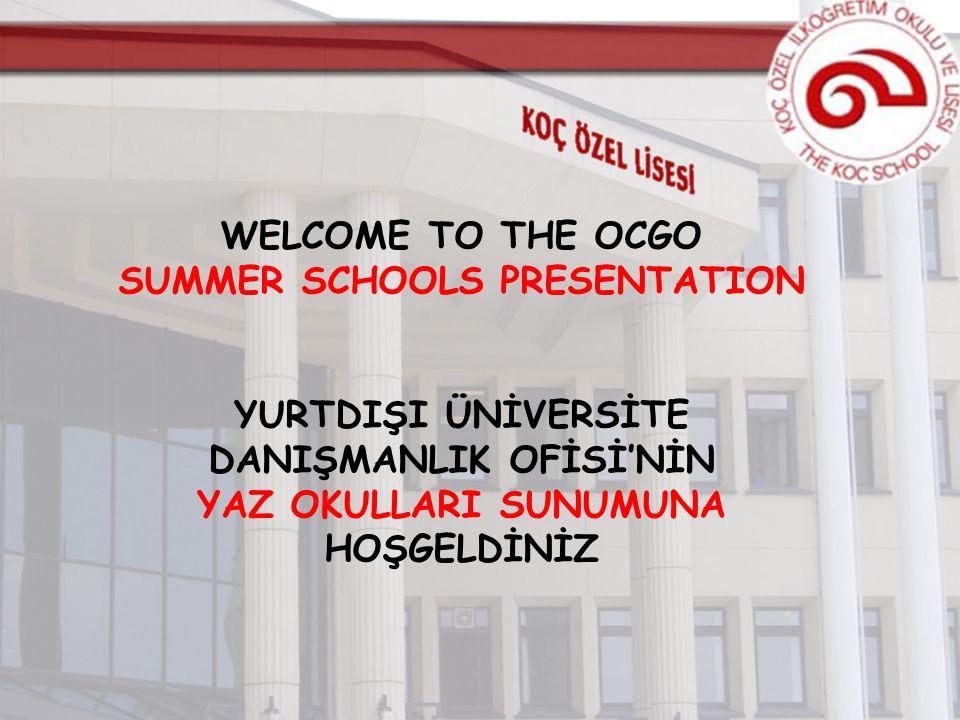 WELCOME TO THE OCGO SUMMER SCHOOLS PRESENTATION YURTDIŞI ÜNİVERSİTE DANIŞMANLIK OFİSİ'NİN YAZ OKULLARI SUNUMUNA HOŞGELDİNİZ
