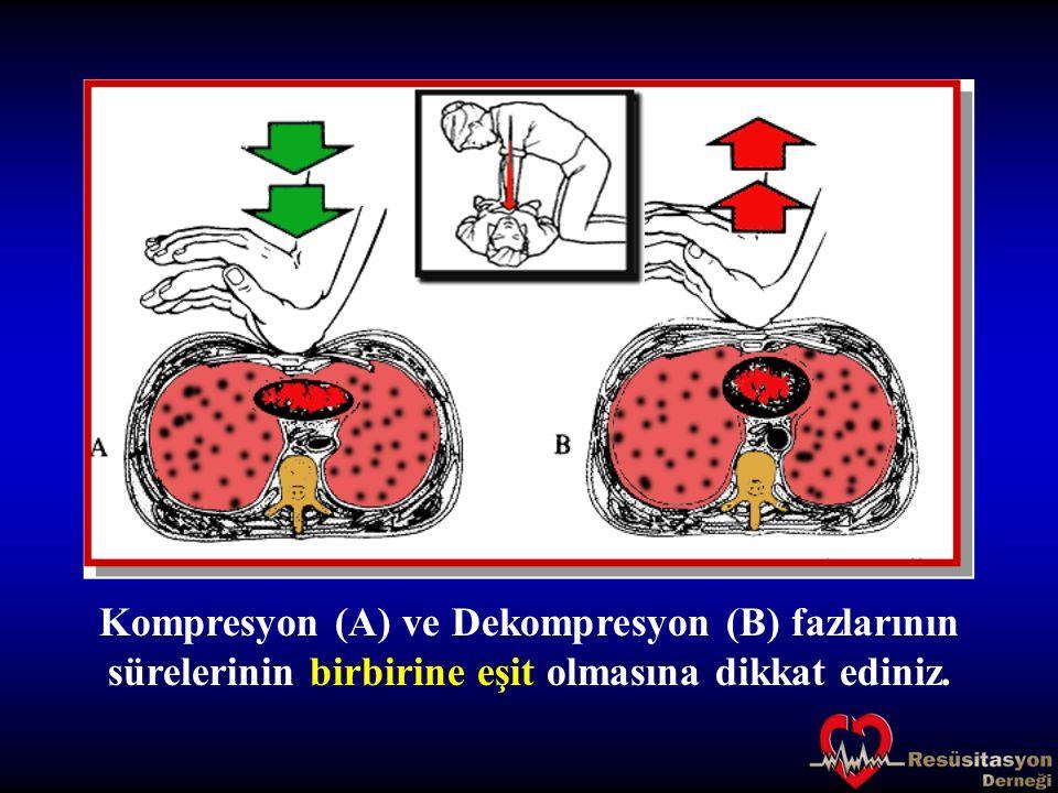 Kompresyon (A) ve Dekompresyon (B) fazlarının sürelerinin birbirine eşit olmasına dikkat ediniz.