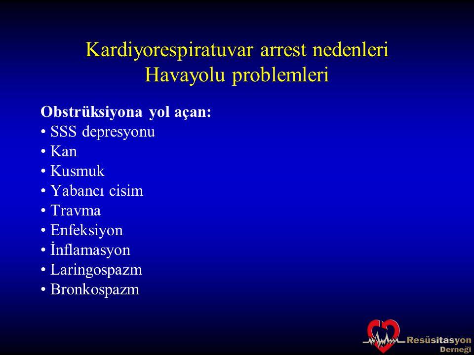 Kardiyorespiratuvar arrest nedenleri Havayolu problemleri Obstrüksiyona yol açan: SSS depresyonu Kan Kusmuk Yabancı cisim Travma Enfeksiyon İnflamasyo