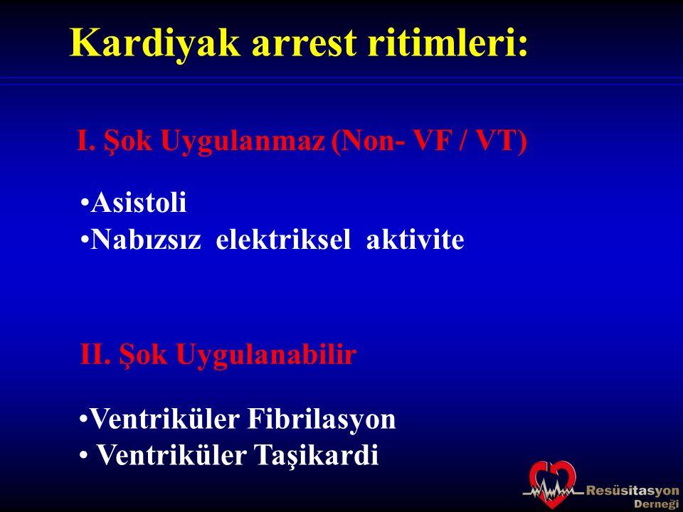Kardiyak arrest ritimleri: Asistoli Nabızsız elektriksel aktivite I. Şok Uygulanmaz (Non- VF / VT) II. Şok Uygulanabilir Ventriküler Fibrilasyon Ventr