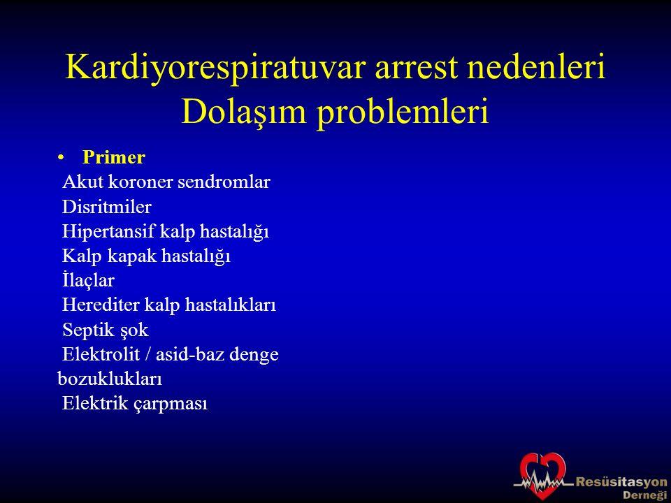 Kardiyorespiratuvar arrest nedenleri Dolaşım problemleri Primer Akut koroner sendromlar Disritmiler Hipertansif kalp hastalığı Kalp kapak hastalığı İl