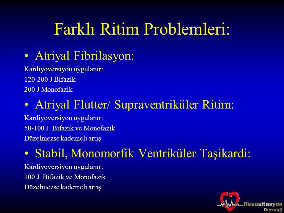 Farklı Ritim Problemleri: Atriyal Fibrilasyon: Kardiyoversiyon uygulanır: 120-200 J Bifazik 200 J Monofazik Atriyal Flutter/ Supraventriküler Ritim: K