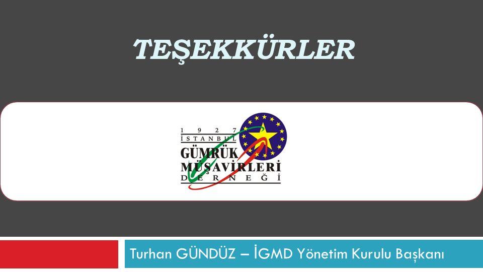 TEŞEKKÜRLER Turhan GÜNDÜZ – İ GMD Yönetim Kurulu Başkanı