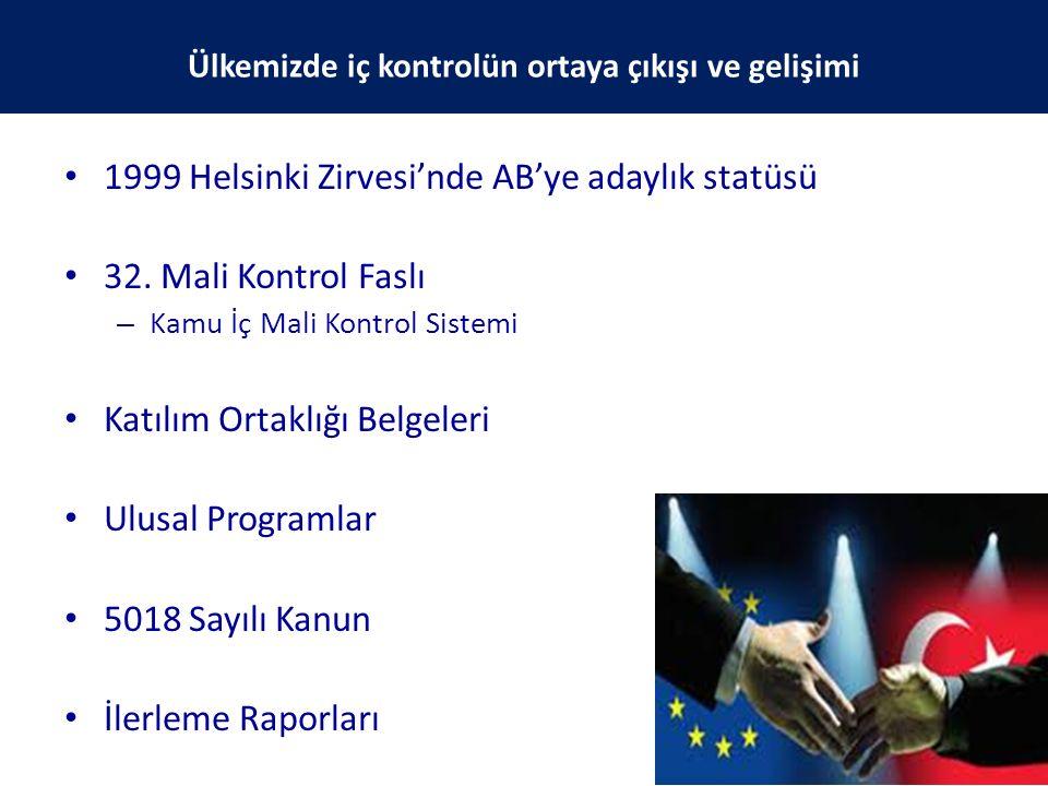 1999 Helsinki Zirvesi'nde AB'ye adaylık statüsü 32. Mali Kontrol Faslı – Kamu İç Mali Kontrol Sistemi Katılım Ortaklığı Belgeleri Ulusal Programlar 50