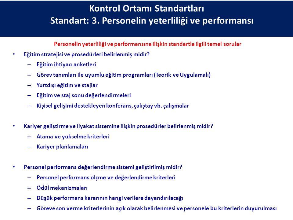 Personelin yeterliliği ve performansına ilişkin standartla ilgili temel sorular Eğitim stratejisi ve prosedürleri belirlenmiş midir? – Eğitim ihtiyacı