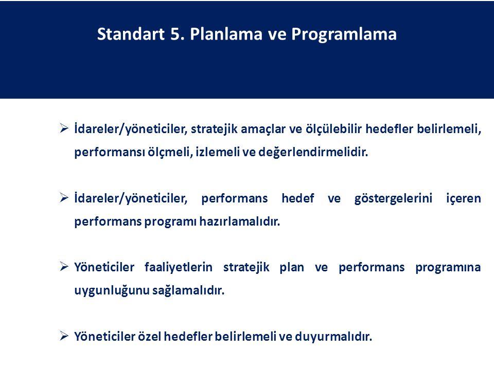 Standart 5. Planlama ve Programlama  İdareler/yöneticiler, stratejik amaçlar ve ölçülebilir hedefler belirlemeli, performansı ölçmeli, izlemeli ve de