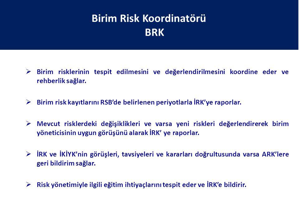 Birim Risk Koordinatörü BRK  Birim risklerinin tespit edilmesini ve değerlendirilmesini koordine eder ve rehberlik sağlar.  Birim risk kayıtlarını R