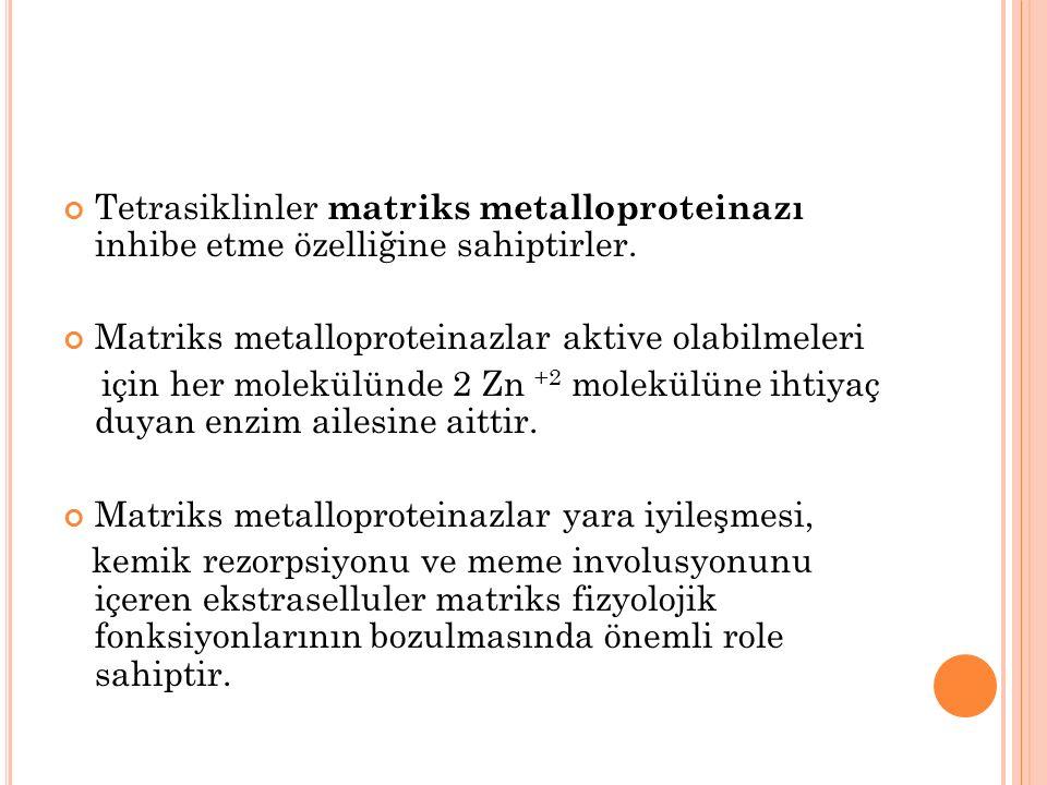 Tetrasiklinler matriks metalloproteinazı inhibe etme özelliğine sahiptirler.