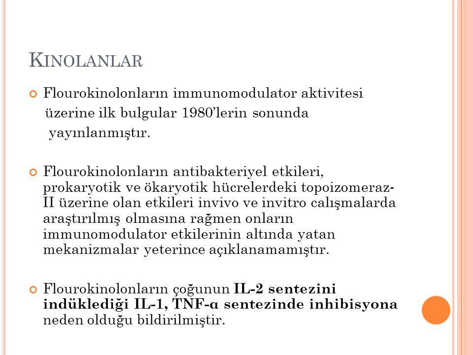 K INOLANLAR Flourokinolonların immunomodulator aktivitesi üzerine ilk bulgular 1980'lerin sonunda yayınlanmıştır.