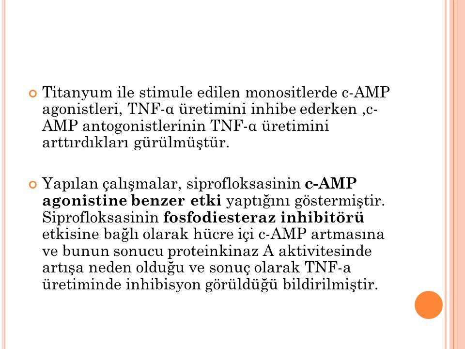Titanyum ile stimule edilen monositlerde c-AMP agonistleri, TNF-α üretimini inhibe ederken,c- AMP antogonistlerinin TNF-α üretimini arttırdıkları gürülmüştür.