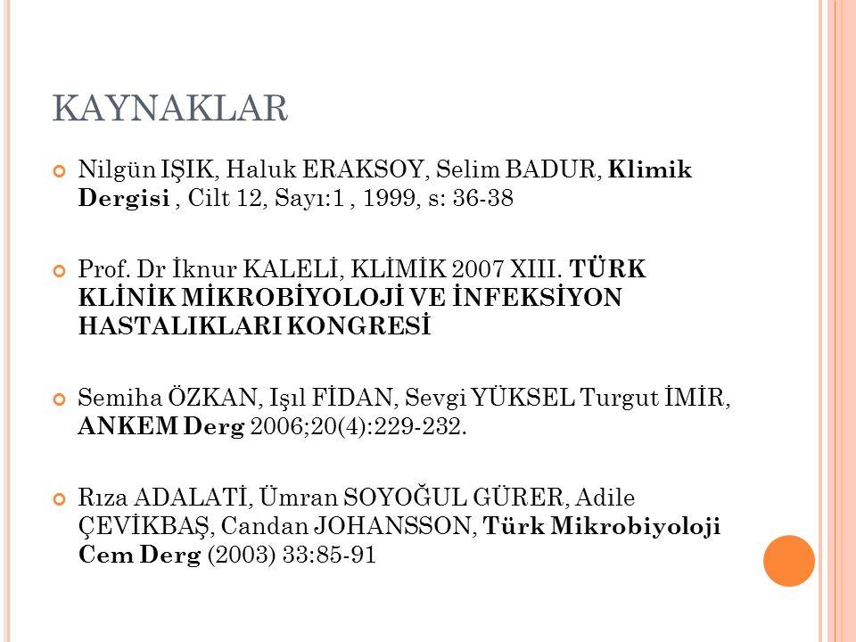 KAYNAKLAR Nilgün IŞIK, Haluk ERAKSOY, Selim BADUR, Klimik Dergisi, Cilt 12, Sayı:1, 1999, s: 36-38 Prof.