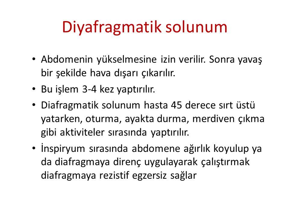 Diyafragmatik solunum Abdomenin yükselmesine izin verilir. Sonra yavaş bir şekilde hava dışarı çıkarılır. Bu işlem 3-4 kez yaptırılır. Diafragmatik so