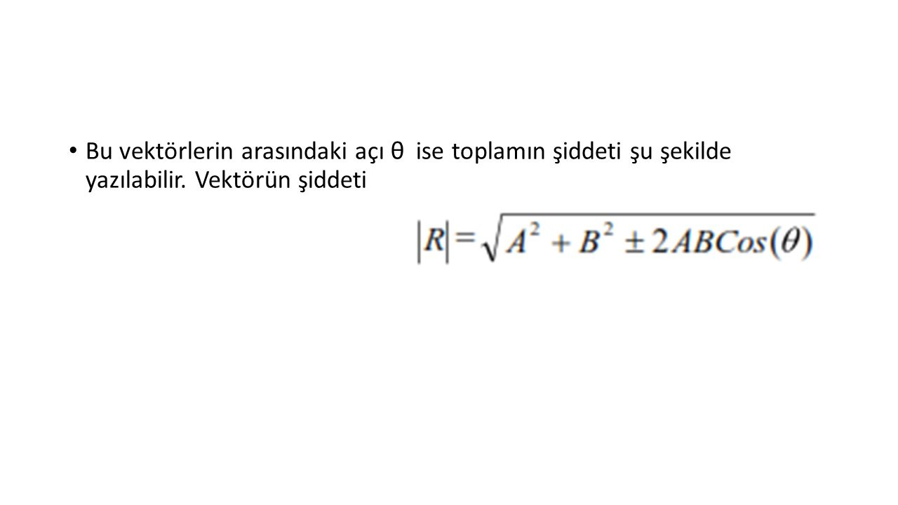 Bu vektörlerin arasındaki açı θ ise toplamın şiddeti şu şekilde yazılabilir. Vektörün şiddeti