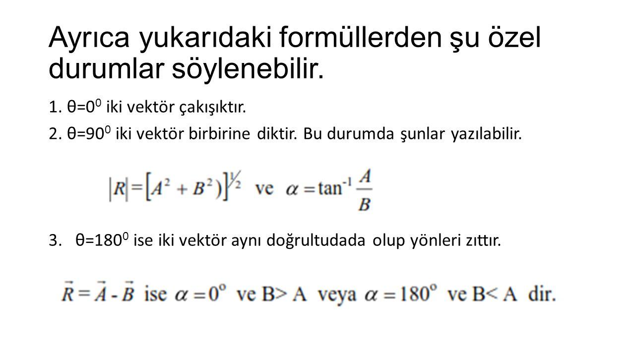 Ayrıca yukarıdaki formüllerden şu özel durumlar söylenebilir.
