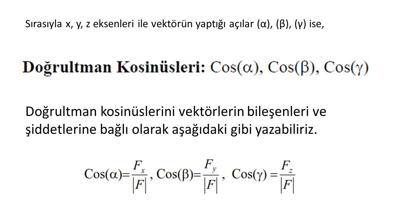 Sırasıyla x, y, z eksenleri ile vektörün yaptığı açılar (α), (β), (γ) ise, Doğrultman kosinüslerini vektörlerin bileşenleri ve şiddetlerine bağlı olarak aşağıdaki gibi yazabiliriz.