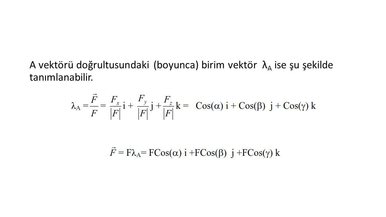 A vektörü doğrultusundaki (boyunca) birim vektör λ A ise şu şekilde tanımlanabilir.