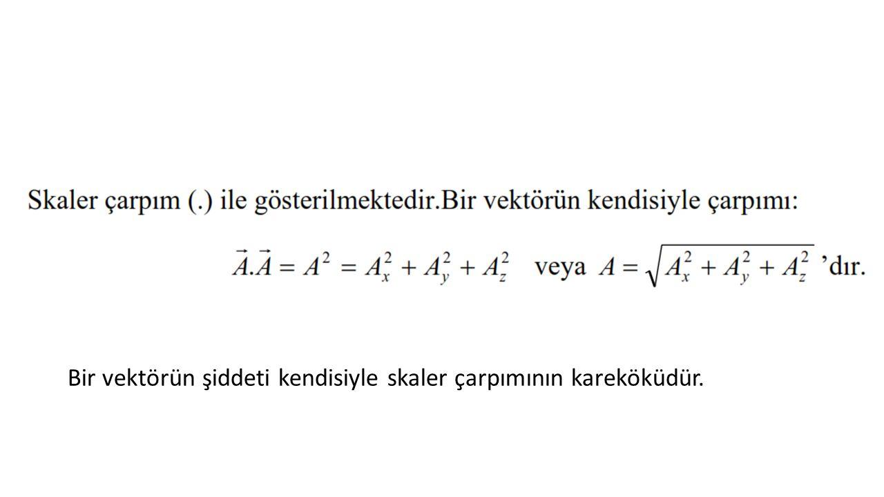 Bir vektörün şiddeti kendisiyle skaler çarpımının kareköküdür.