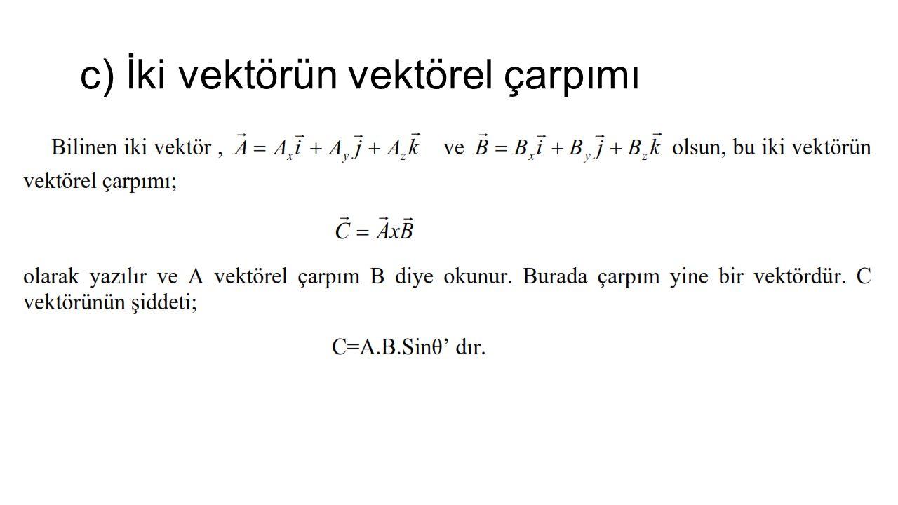 c) İki vektörün vektörel çarpımı