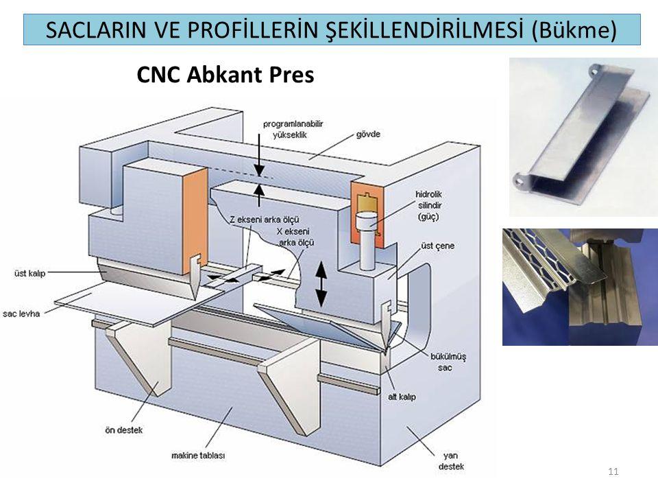 SACLARIN VE PROFİLLERİN ŞEKİLLENDİRİLMESİ (Bükme) 11 CNC Abkant Pres