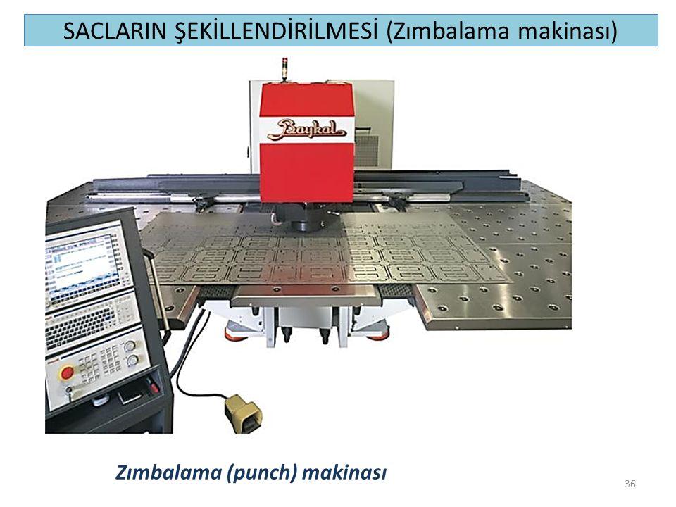 SACLARIN ŞEKİLLENDİRİLMESİ (Zımbalama makinası) 36 Zımbalama (punch) makinası