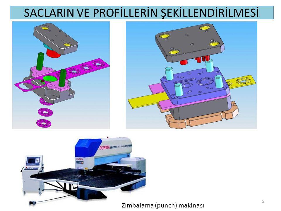 SACLARIN VE PROFİLLERİN ŞEKİLLENDİRİLMESİ (Çekme) 26 3-ÇEKME (D) çaplı bir pulun çekme kalıpları yardımıyla (d) çapında ve (h) yüksekliğinde bir kovan şekline dönüştürülmesine çekme'' adı verilir (Şekil 11.14).