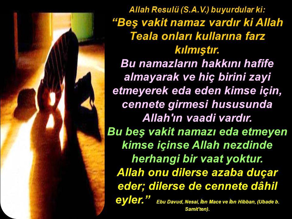 """Allah Resulü (S.A.V.) buyurdular ki: """"Beş vakit namaz vardır ki Allah Teala onları kullarına farz kılmıştır. Bu namazların hakkını hafife almayarak ve"""