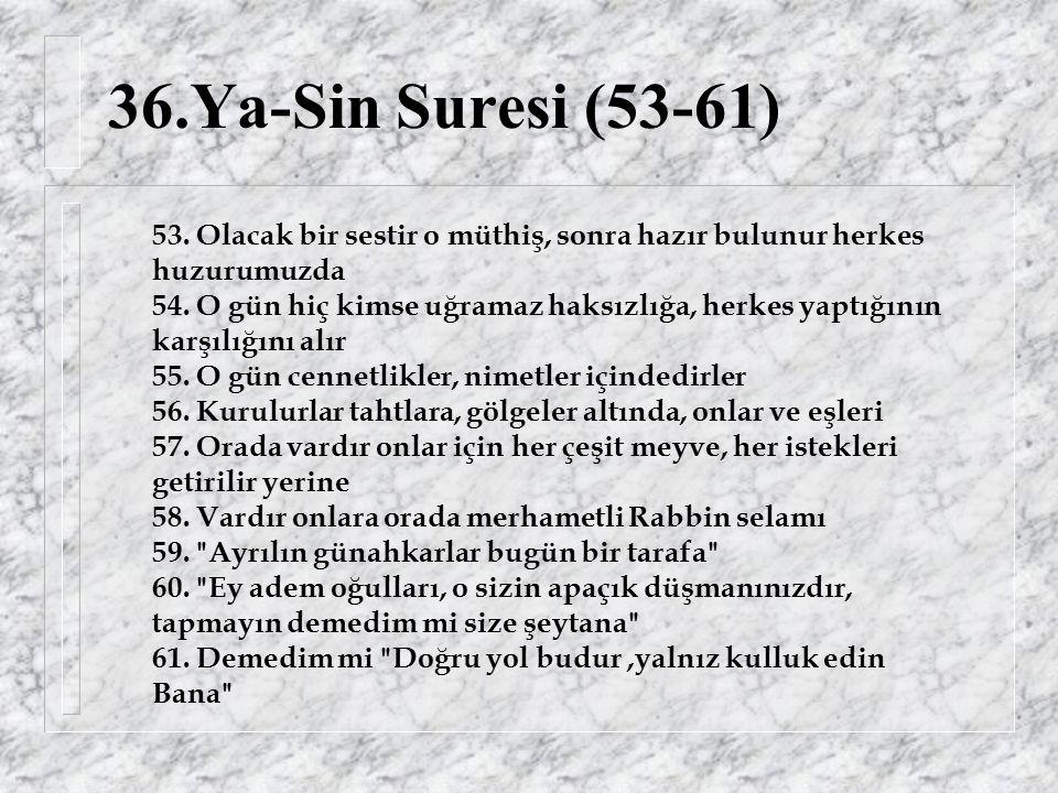 36.Ya-Sin Suresi (53-61) 53. Olacak bir sestir o müthiş, sonra hazır bulunur herkes huzurumuzda 54.