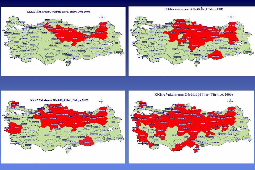 KKKA Vakalarının Görüldüğü İller ( Türkiye, 2005) KKKA Vakalarının Görüldüğü İller (Türkiye, 2004) KKKA Vakalarının Görüldüğü İller (Türkiye, 2002-2003)